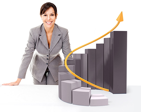 Wilde Success, Business Coach, Business Coaching, Carmen Wilde, Gary Wilde Businesswoman with growth graph